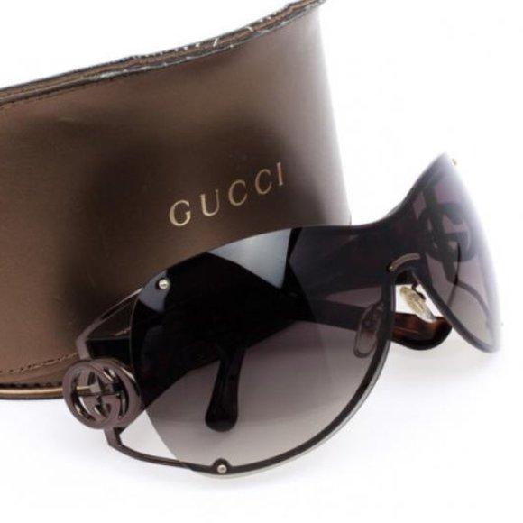 Gucci Black Shield Women Sunglasses 90's Vintage